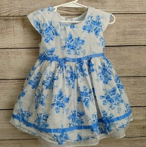 George Blue and White Floral girls dress 24m
